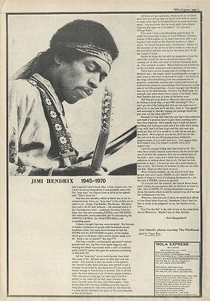 jimi hendrix newspapers 1970 / nola express october 2, 1970