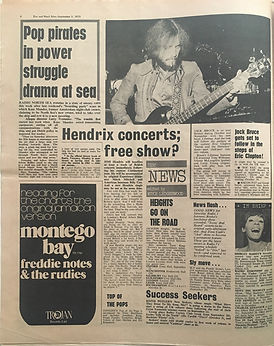jimi hendrix newspaper 1970 /disc music echo  september 5, 1970 /  hendrix concerts free show ?
