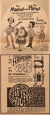 jimi hendrix rotily memorabilia/ AD hollywood bowl 18/8/1967