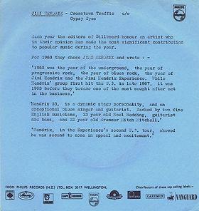 jimi hendrix collector singles vinyls 45rdn/crosstown traffic new zealand polydor 1968