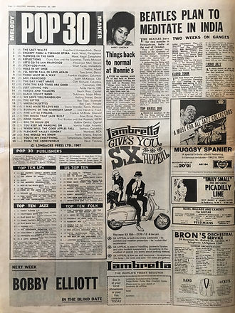 jimi hendrix collector newspapers/melody maker 30/9/1967 top30 burning of the midnight lamp N°20