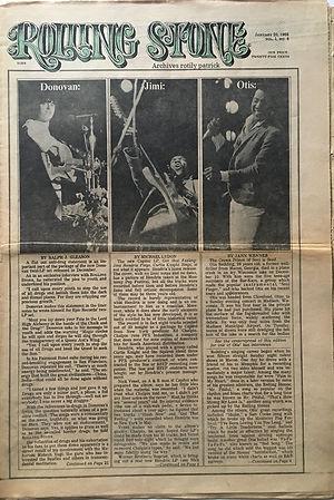 JIMI HENDRIX COLLECTOR NEWSPAPER/rolling stone 20/1/1968