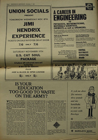 jimi hendrix collector newspaper/manchester independent / november 7 1967  / jimi hendrix experience ad concert nov.9 1967