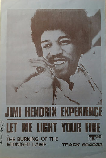 jimi hendrix collector poster memorabilia/poster promo/let me light your fire/ track record 1969