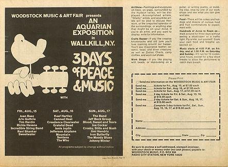 jimi hendrix newspaper 1969/new arbor argus other half july 1969/ad woodstock