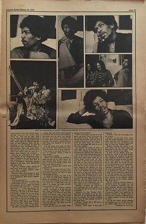 jimi hendrix newspaper 1970 /rolling stone  march 19, 1970