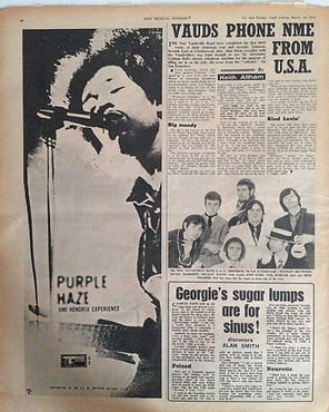 jimi hendrix newspaper 1967/ purple haze AD