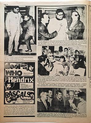 jimi hendrix newspaper/go july 5 1968/AD: singer bowl N.Y august 23 1968