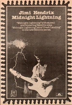 jimi hendrix / ad : album midnight lightning  polydor  1975 england