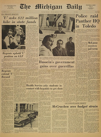 jimi hendrix newspapers 1968/ the michigan daily september 19, 1970