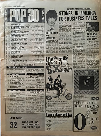 jimi hendrix collector newspapers/melody maker 16/9/67 pop 30/top ten LP/