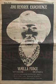 jimi hendrix memorabilia 1968 / ad concert / georgia straight sept. 68
