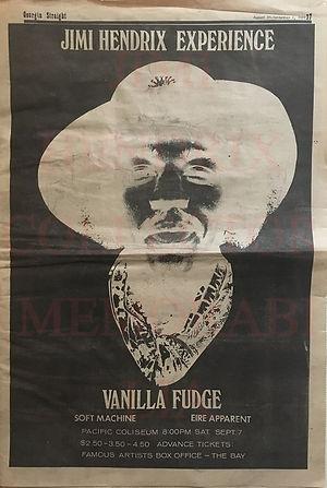 jimi hendrix newspaper/ georgia straight august 30-5 september 1968 / ad concert