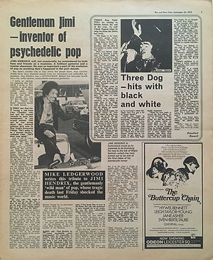 jimi hendrix newspapers 1970 / disc and music echo: September 26, 1970