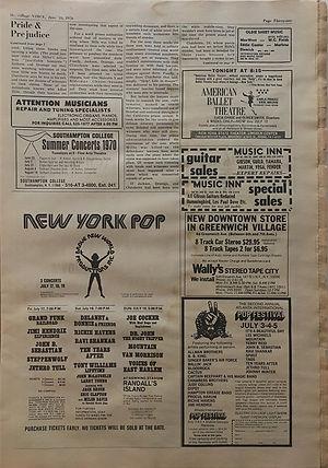jimi hendrix newspapers 1970 / the village voice / june 19, 1970
