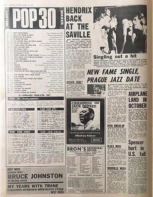 collector newspapers jimi hendrix melody maker 12/8/67 top 30 article
