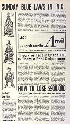 jimi hendrix newspaper 1969/the north caroli anvil august 30 1969