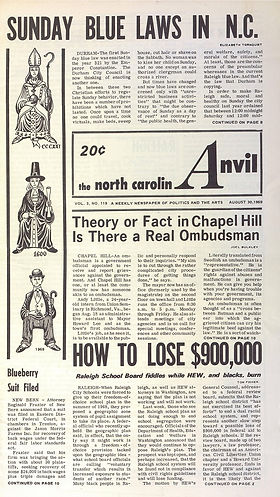 jimi hendrix newspaper 1969/the north caroli anvil august 30 1969
