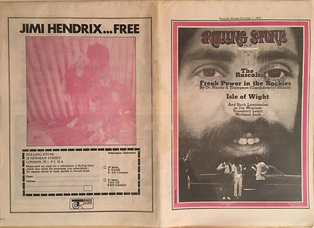 jimi hendrix newspapers 1970 / rolling stone october 1,1970  / electric lady studio