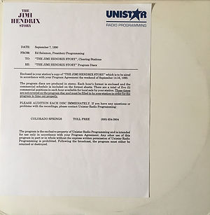 jimi hendrix vinyls album / unistar radio programming : the jimi hendrix story sept.7, 1990