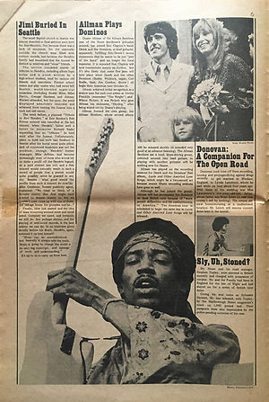 jimi hendrix newspapers 1970 / rock  november 15,  1970 : jimi buried in seattle
