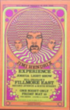 jimi hndrix memorabilia 1968/poster concert fillmore east 1968