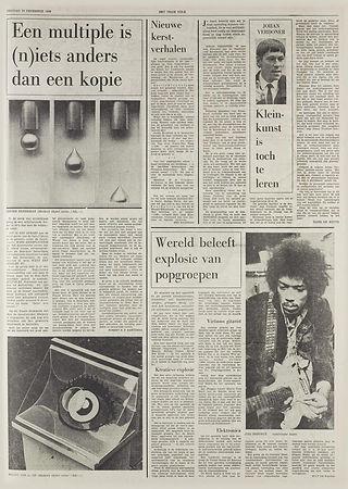 jimi hendrix newspapers 1968 / het vrije volk dec. 20, 1968