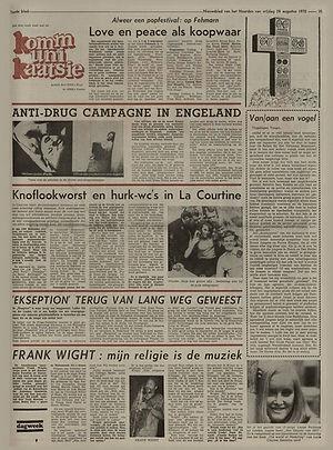 jimi hendrix newspaper 1970 / nieuwsblad van het noorden: august 28, 1970 / article : isle of fehmarn sept.4.5.6