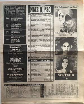 jimi hendrix newspaper 1968/new musical express top 30/top 15 LPs