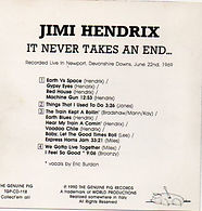 jimi hendrix cd bootlegs 69/ it' never takes an end..