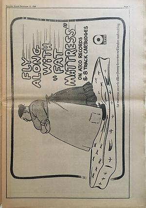 jimi hendrix newspapers 1969/rolling stone december 12, 1969 : AD: fat mattress