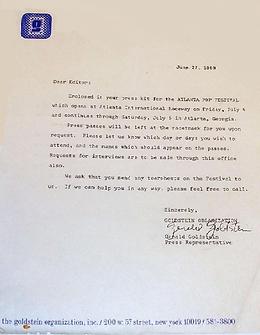 jimi hendrix memorabilia 1970 / letter the goldstein organization  atlanta pop festival