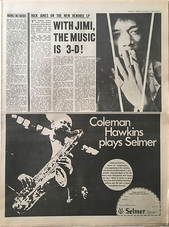 jimi hendrix newspaper collector/with jimi,the music is 3-d / meloy maker 9/12/1967