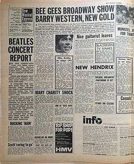 jimi hendrix newspaper/new musical express october 5 1968 / new hendrix