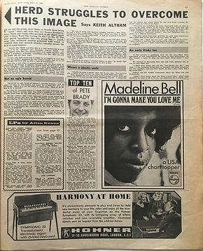 top ten of peter Brady/jimi hendrix newspaper/new musical express 20/4/1968