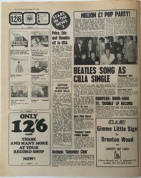 jimi hendrix newspaper/disc music echo/hendrix off to usa /27/1/68