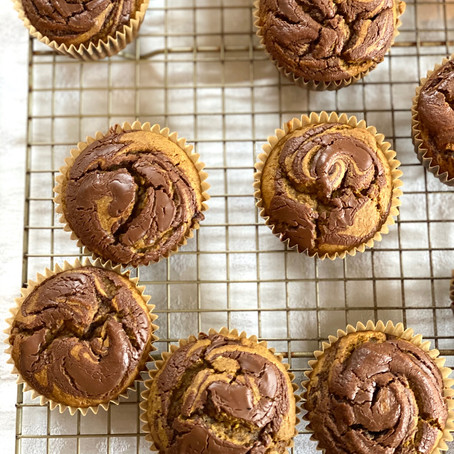 Not so Basic Pumpkin Hazelnut Swirl Muffins