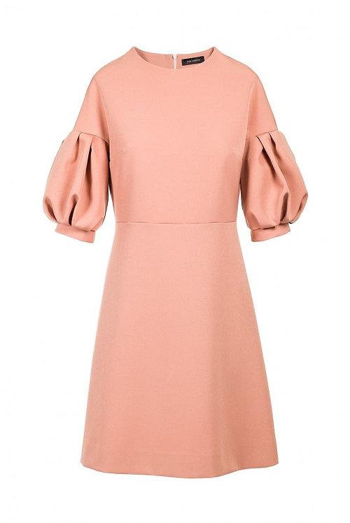 Roosa puhvvarrukatega kleit