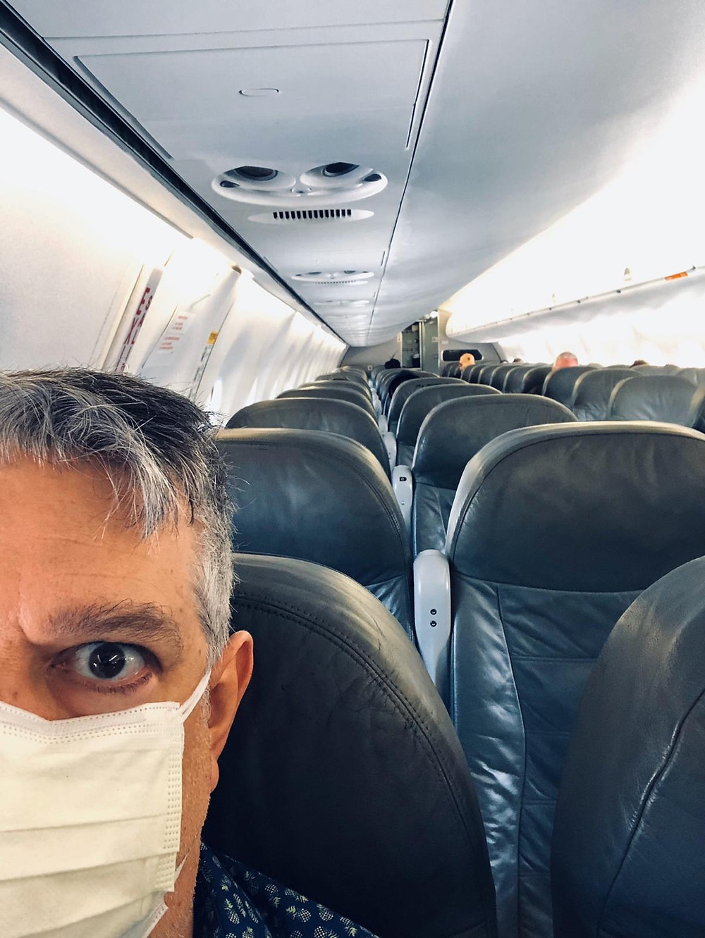 Grant on the plane from Florida to New York - no one on it but 10 people