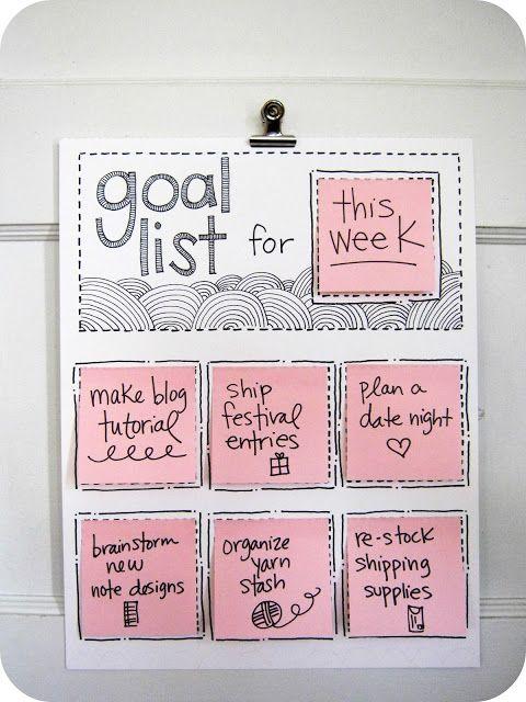 Список целей на неделю. Отличная идея, которая поможет держать ваши мысли и задачи в порядке.