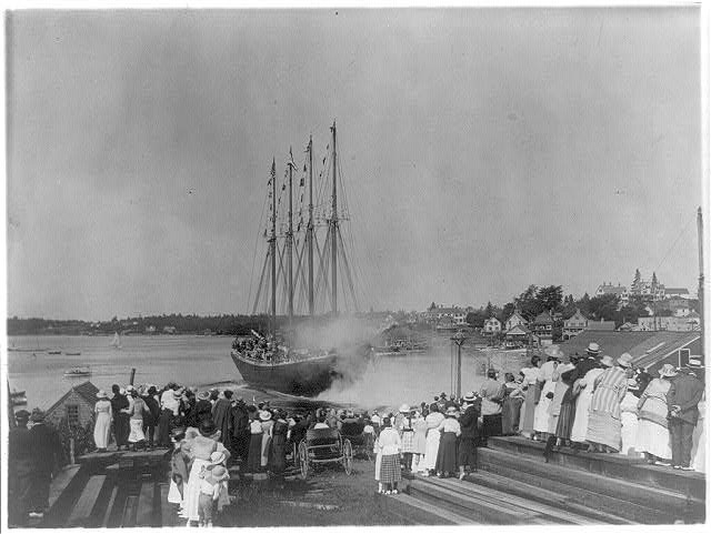 Launch of James E Newson 4 masted schoon