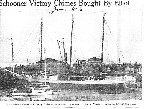 Schooner Victory Chimes at Lermond's Cove,Rockland, Maine 1956