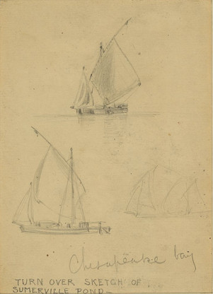 1860 sketch of sailboats seen in Chesape