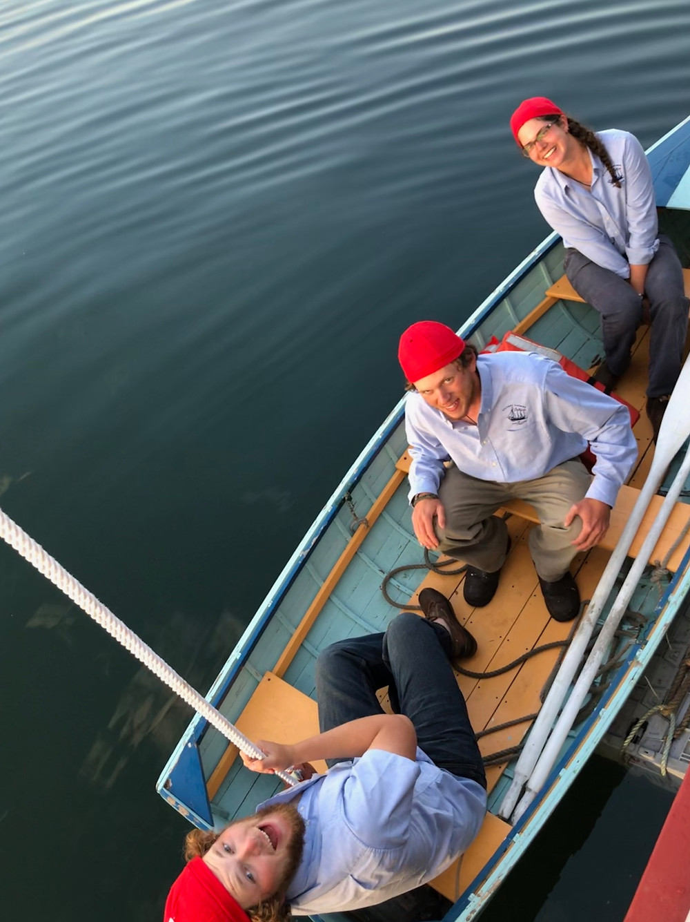 Victory chimes crew in smallboat