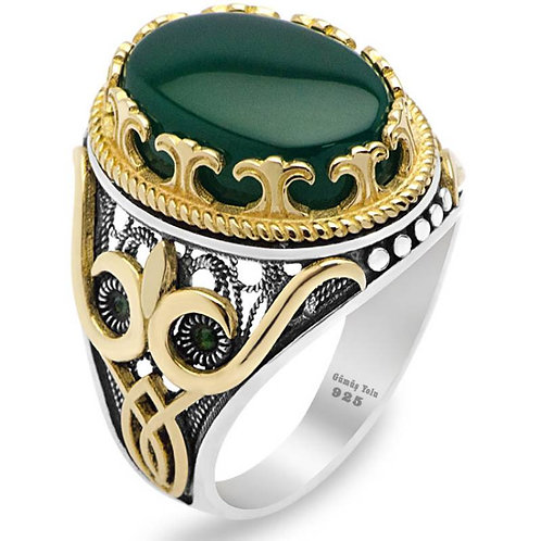 925 Carat Silver Ring with Green Agate Stone