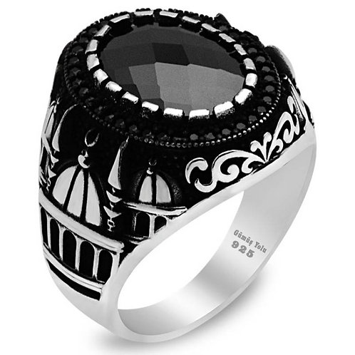 Onyx 925 Carat Sterling Mosque Design Ring