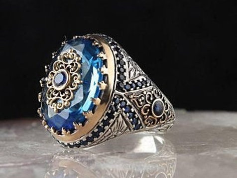Blue Topaz Special Edition Stone 925 carat silver Mens Ring