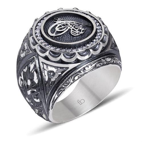 Zircon Stone Processed Tugra Model Erzurum ring