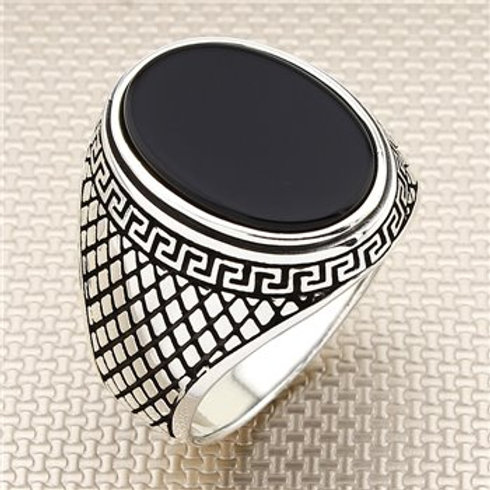 925 carat oval small stone onyx ring