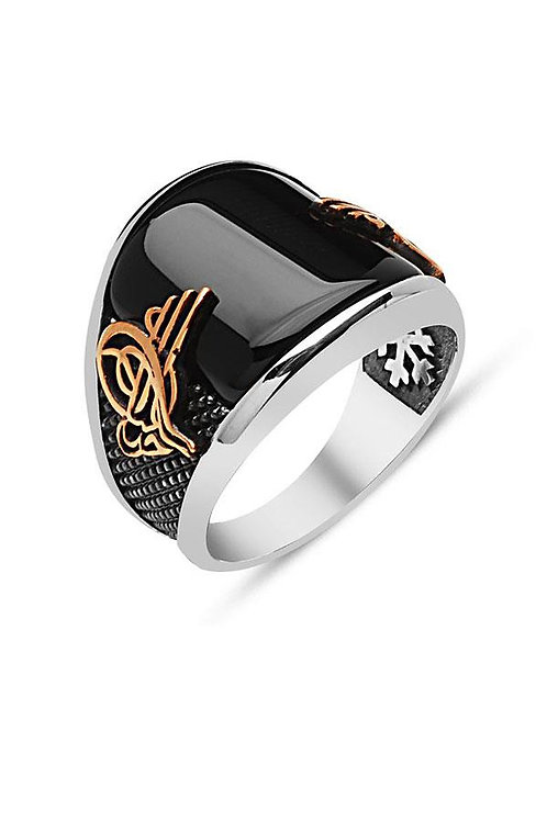 Agate/Onyx  Ottoman Silver Mens Ring